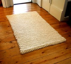 Rug Crochet Rug Mat Chunky Cream Pure Wool Rug by ArticleApparel, $239.00