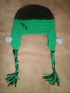 Frankenstien hat! Keep up with the newest creations at www.facebook.com/crystalscreations12