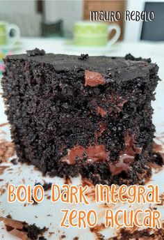 Bolo Chocolate Low Carb, Healthy Chocolate, Chocolate Recipes, Low Carb Recipes, Vegetarian Recipes, Cooking Recipes, Healthy Recipes, Tortas Low Carb, No Sugar Desserts