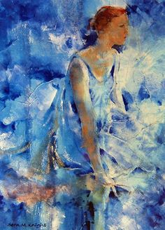 Dancer In Blue - gallery of Dance Paintings by Horsell Woking Surrey Artist Sera Knight