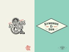 Love the multiple logo lockups. The Ampersand is saweet! And the classic diamond bounding shape is yummy.     … Symonds & Son Brand Identity