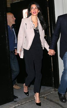 Amal Clooney rocks a pastel leather jacket out in NYC.