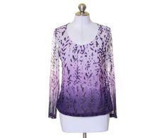Chico's Purple Batik Nylon Stretch Scoop Neck Long Sleeve Blouse Size 1 #Chicos #Blouse #Casual