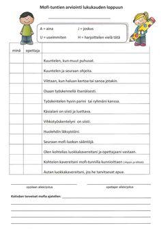 Itsearviointi ja opettajan arviointi kolmannen luokan keväällä. Oppilas tekee tunnilla ja palauttaa lomakkeen, jonka jälkeen opettaja arvioi oppilaan. Learn Finnish, Teacher Picture, Study Skills, Printable Worksheets, School Classroom, Childhood Education, My Teacher, Primary School, Social Skills