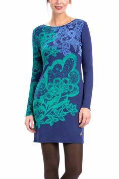 57v20j9-5094 Desigual Dress Martinee, Blue and Aqua