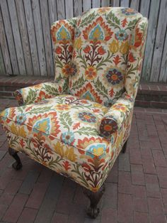 Accent Chair Orange Floral By Urbanmotifs On Etsy, $575.00