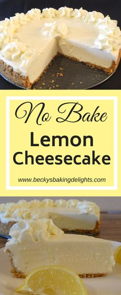 This no-bake lemon cheesecake is light, smooth and creamy. This cool dessert is made with real lemons and is a refreshing treat topped with homemade whipped cream. Lemon Desserts, Lemon Recipes, No Bake Desserts, Just Desserts, Sweet Recipes, Dessert Recipes, No Bake Lemon Cheesecake, Light Cheesecake, Homemade Whipped Cream