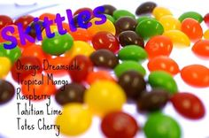 Pink Zebra Recipes- Skittles.  Featuring: Orange Dreamsicle; Tropical Mango; Fresh Raspberry; Tahitian Lime and Totes Cherry