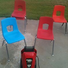 Cleaning classroom chairs:  spray a degreaser on chairs and let them set a few minutes. Then use a power washer. Makes chairs look brand new!!!  Car wash would also work with the tire cleaner.