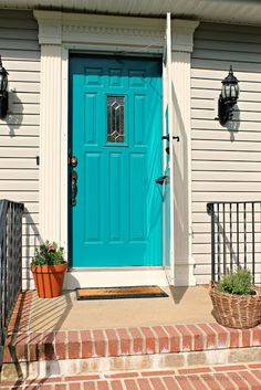 Front door reveal with the color teal | Love My Simple Home