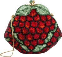 """Judith Leiber Full Bead Red & Green Crystal Grapes Minaudiere Evening Bag Good Condition 5.5"""" Width x 5&quo..."""