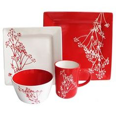 """Sixteen-piece stoneware dinner set with floral motifs.   Product: 4 Dinner plates4 Salad plates4 Bowls4 MugsConstruction Material: EarthenwareColor: Red and whiteDimensions: Dinner Plate: 10.75"""" W x 10.75"""" D eachSalad Plate: 8"""" W x 8"""" D eachBowl: 6.5"""" W x 6.5"""" D eachMug: 4"""" Diameter each"""