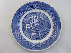 antique & vintage Blue Willow china, lot of 18 bread & butter or ...