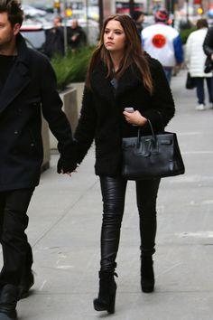 Ashley Benson wearing Saint Laurent Sac du Jour bag Topshop Teddy Faux Fur Pea Coat