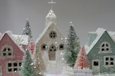 / glitter houses by cherished vintage / Miniature Christmas, Christmas Paper, Pink Christmas, Christmas Home, Vintage Christmas, Christmas Crafts, Christmas Ornaments, Christmas Mantles, Victorian Christmas