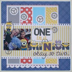 Minion scrapbook layout--love the letters!