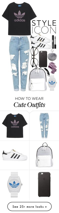 """""""cute outfit"""" by katieivory on Polyvore featuring adidas Originals, Topshop, LORAC, Bobbi Brown Cosmetics, Adrienne Landau, adidas and Poverty Flats"""