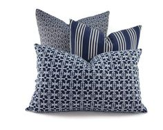 Navy Blue Geometric Pattern Lumbar Pillow Cover by ThePillowSpot