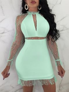 Shop Sexy Sheer Mesh Shiny Embellished Party Dress right now, get great deals at joyshoetique Tight Dresses, Sexy Dresses, Cute Dresses, Fashion Dresses, Dresses With Sleeves, Prom Dresses, Sheer Dress, Bodycon Dress, Dress Long