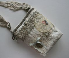 Pretty and Romantic OOAK Crossbody Bag...Gorgeous Vintage Trim Rhinestones and Buttons