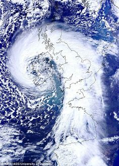 Swirling: This dramatic satellite image received by the University of Dundee today shows the scale of the storm on the way, which covers the...