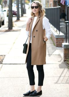 Camel Vest Coat Fall Streetstyle Inspo by Penny Pincher Fashion Her Style, Cool Style, Autumn Winter Fashion, Spring Fashion, Penny Pincher Fashion, Vest Coat, Jacket, Beige, Office Outfits