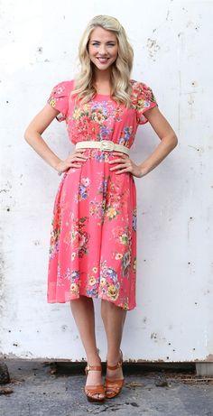 Coral Floral Savannah Dress by Mikarose | Trendy Modest Dresses | Mikarose Spring 2014 Collection