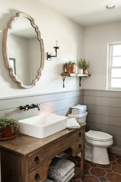Get This Look: Fixer Upper Hot Sauce House Powder Room #BathroomDecorSets Guest Bathrooms, Master Bathroom, Bathroom Vanities, Half Bathrooms, Bathroom Tray, Neutral Bathroom, Downstairs Bathroom, Bathroom Cabinets, Wood Cabinets