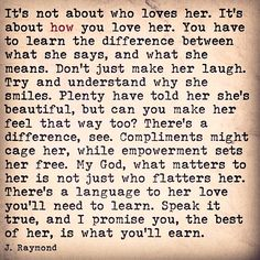 It's about how you love her.