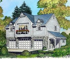 garage plans Nearly perfect. above three-car garage. Entrance on the side, so could easily connect with a breezeway to the main house. Garage Apartment Plans, Garage Apartments, Above Garage Apartment, Attic Apartment, Attic Rooms, Apartment Ideas, Attic Renovation, Attic Remodel, Small House Plans