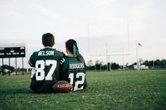 Kyle+Alex: Engaged  Photo By Nathan Gilmer Photography #Packers engagement photo #football engagement photo