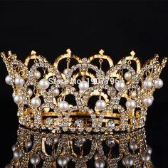 Big European Royal Crown Gold Or Silver Rhinestone Ruby Tiara Super Large Queen Crown Wedding hair Accessories(China (Mainland))