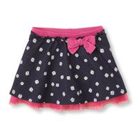 daisy faux-denim skirt