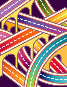 Stock Illustration - Network of colorful roads