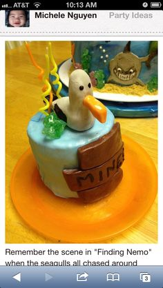 """Individual seagull """"mine"""" from finding Nemo cake for birthday kid."""