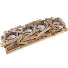 Wholesale Box of 2x 4 piece driftwood candle holders - Something Different