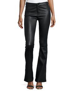 Vivia Flared Leather Pants, Black at CUSP.