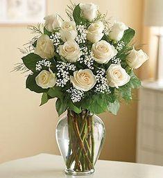 1800Flowers - Rose Elegance Premium Long Stem White Roses - 12 Stem White Roses: