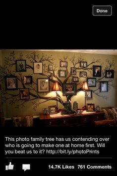 family tree wall decor decal - My husband is going to paint a family tree mural in our hall, but it will be taller and not as bold as this tree. Nonetheless, pinning for inspiration.