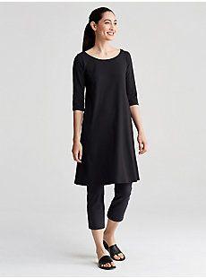 Ballet Neck Elbow-Sleeve Dress in Organic Cotton Stretch Jersey | EILEEN FISHER