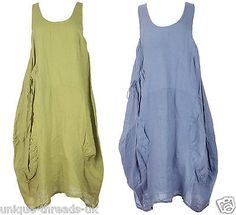 New-QUIRKY-Italian-LAGENLOOK-Pocket-TULIP-Parachute-LINEN-Dress-Tunic-PLUS-48