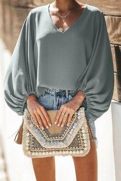 Gray Bells Will Be Ringing Balloon Sleeve Blouse, Blouses & Shirts, Wholesale Blouses & Shirts, Affordable Blouses & Shirts Cool Outfits, Fashion Outfits, Womens Fashion, Ootd Fashion, Fashion Trends, Floral Print Shirt, Casual Fall, Sleeves, Chiffon Blouses