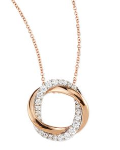 P4780 Frederic Sage 18k Rose & White Gold Ovals set with 24 Diamonds in this gorgeous Pendant Necklace - available at Daniel Jewelers, Brewster New York