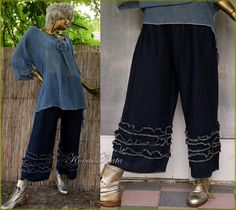 19f27954ef Livia Two Parted Dress - Bohemian Romantic Dark-Blue Linen Tunic with Wide  Legs Pants OOAK