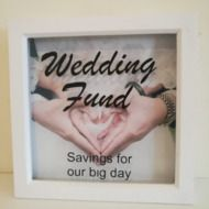 Save towards your big day with this Wedding Fund savings frame. Can be personalised to display names Money Saving Box, Money Box, Box Picture Frames, Box Frames, Engagement Gifts, Handmade Wedding, Big Day, Weddingideas, Gift Guide