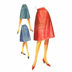 1960s Misses Flared Skirt Butterick 2235 Vintage Sewing Pattern