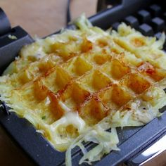 """Grated potatoes + cheese = The Waffclette. - David Ort and Canadian Cheese, Potato Waffles, No Cook Appetizers, Milk And Cheese, Waffle Iron, Looks Yummy, How To Make Cheese, Simple Pleasures, Cheese Recipes"