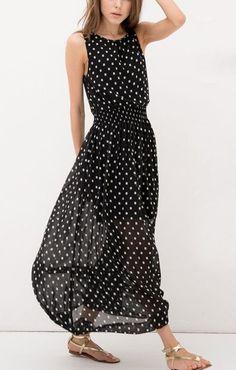 black and white polka dot maxi dress