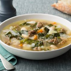 Sausage, Beans and Broccoli Rabe Soup recipe from Rachael Ray via Food Network. Sounds Yummy but would prob use kale instead of broccoli rabe Sausage Soup, Sausage Recipes, Soup Recipes, Dinner Recipes, Cooking Recipes, Healthy Recipes, Healthy Soups, Sausage Gumbo, Venison Recipes