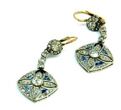 Edwardian earrings circo 1910 -- platinum and 18 k gold set with sapphires and diamonds.